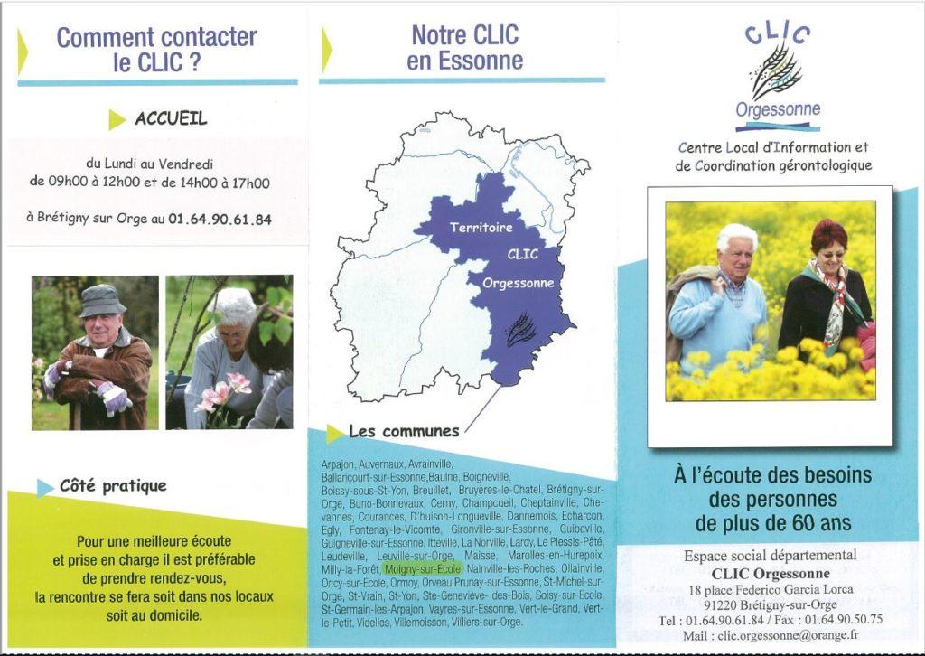 Seniors Aides et informations CLIC Orgessonne Flyer présentation 1