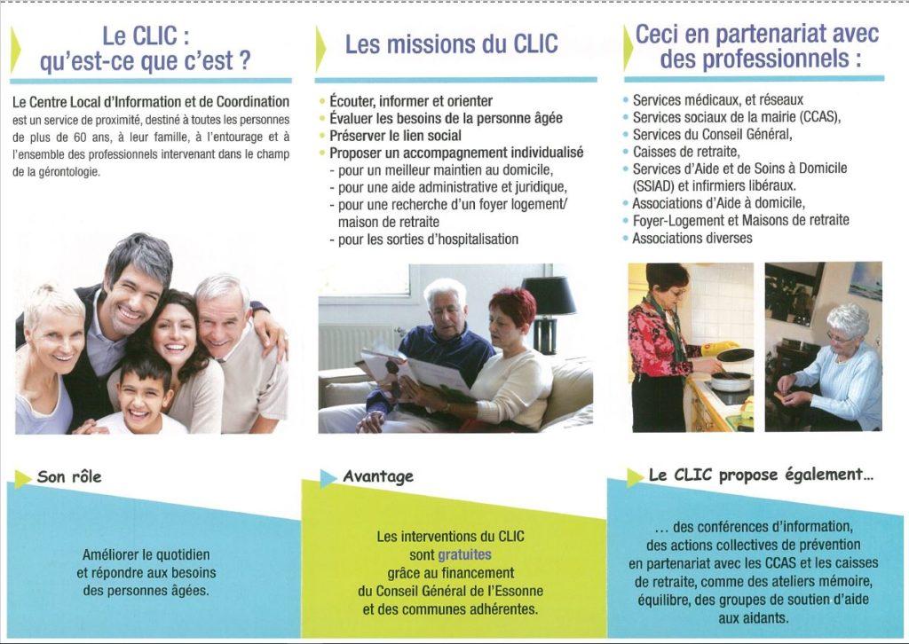 Seniors Aides et informations CLIC Orgessonne Flyer présentation 2