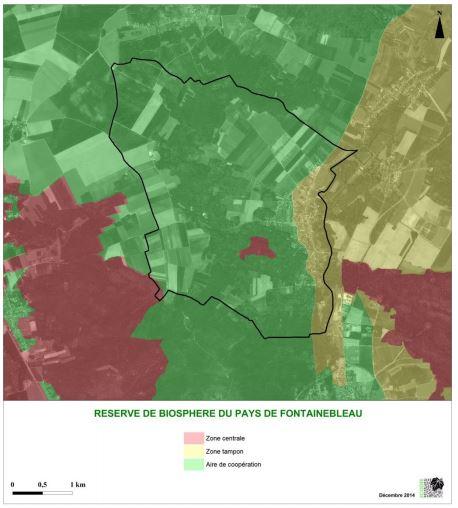Espaces protégés Réserve de Biosphère Fontainebleau carte PLU V2017
