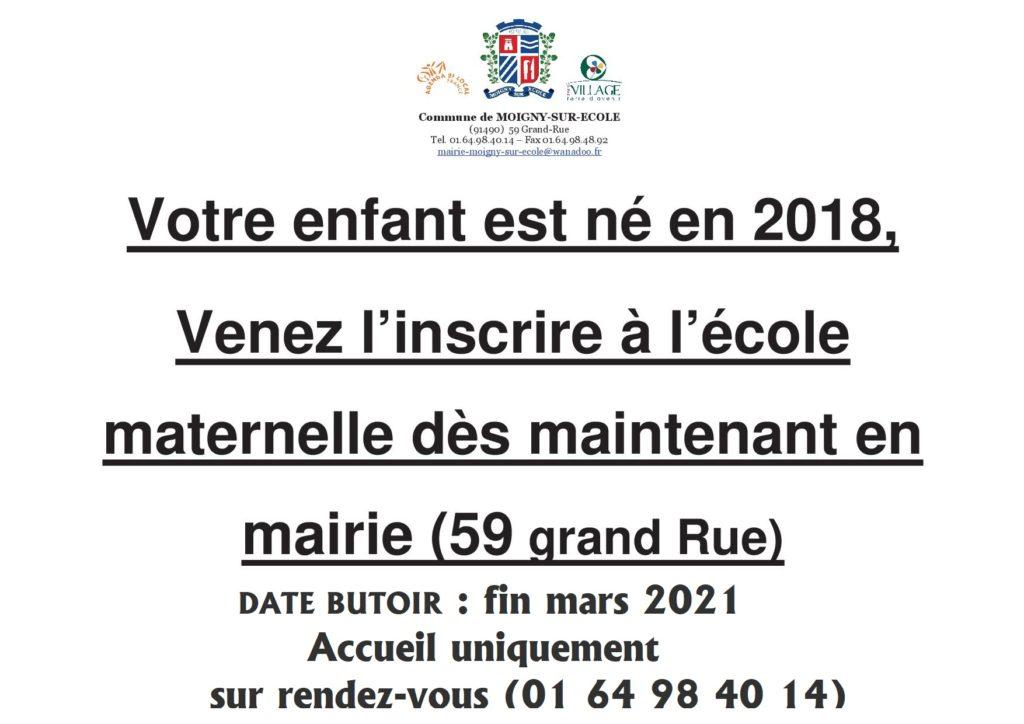 Affiche inscription entrée en maternelle 2021-2022